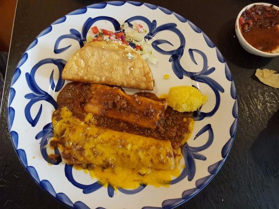 3 Item combo with an enchilada, tamale and taco at Chevys Fresh Mex in Emeryville.