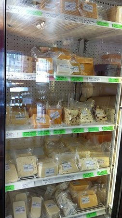Mauston, WI: A partial view of the cheese that is offered