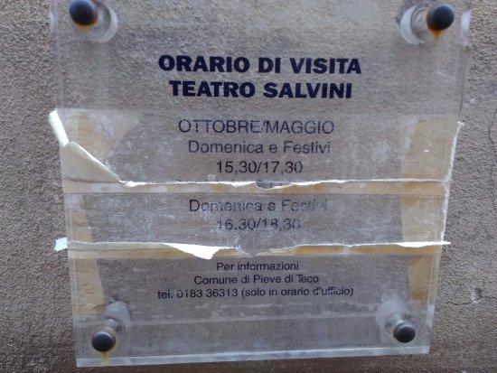 Teatro Salvini: Orari visita e telefono x info