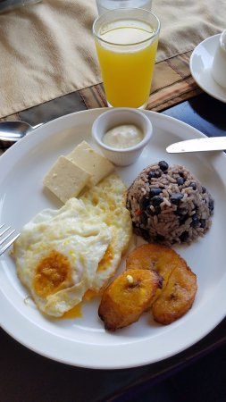 Hotel Magic Mountain: Free breakfast included - gallo pinto, eggs, plaintain, cheese, sour cream, juice and coffee