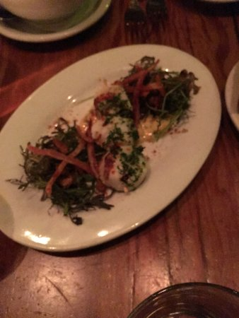 Trattoria Corso: Grilled scallops, bacon and deep fried black eyed peas.