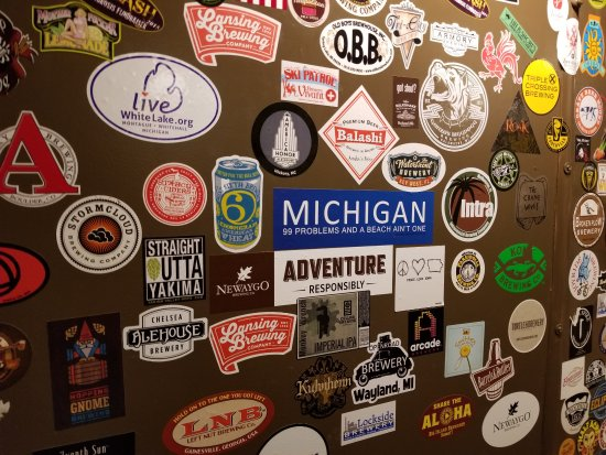 Whitehall, MI: Lots of stickers inside the vault