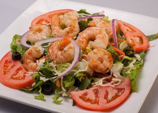 Gautier, MS: Freshly prepared house salad accompanied with either grilled shrimp or chicken.