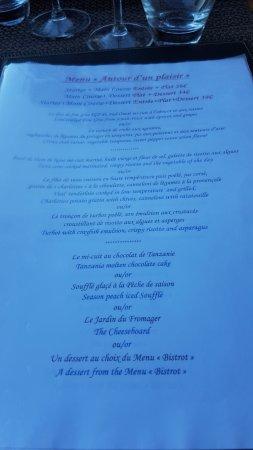 """Saint-Estephe, فرنسا: Menu """"Autour d'un plaisir"""". Entrée, plat, déssert (39 €)"""