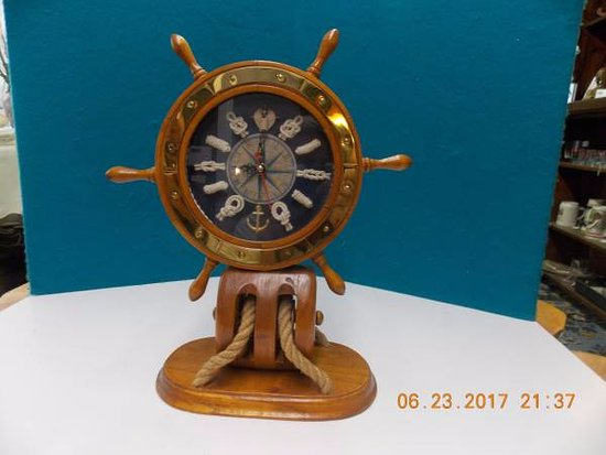 Mills River, NC: Wooden Ship's Wheel Clock