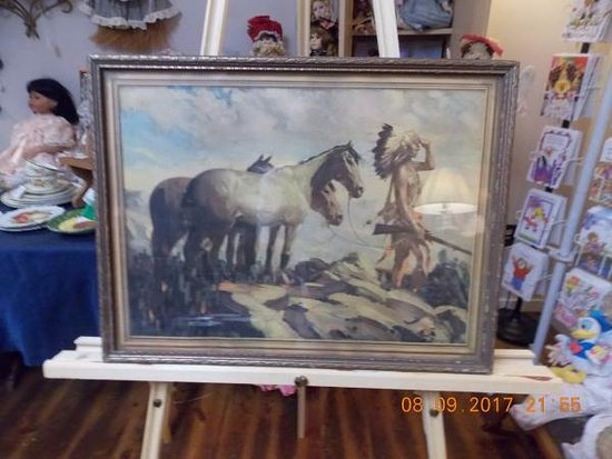 Mills River, NC: Antique Vintage picture with Indian Warrior Scout and Horses