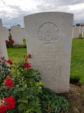 WW1 Tours: Grave of Victoria Cross Sergeant L. McGee, Tyne Cot