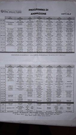 Centro Vacanze Pra delle Torri: esempio programma settimanale