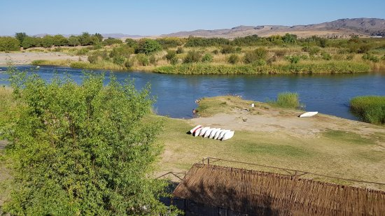 Noordoewer, Namibia: View from the pool overlooking the river where the canoes are launched/arrive back