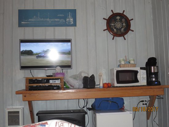 Deane's Oceanfront Lodge: refrigerator, TV and microwave