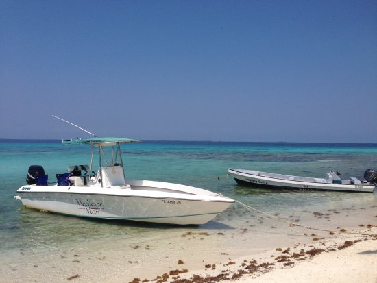 Placencia, Belize: The Medicine Man Boat. We Be fishing, snorkelling & having fun!