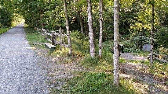 Ayer's Cliff, Canada: Proximité du sentier Tomofobia. Piste cyclable permettant de se rendre jusqu'à Newport, VT