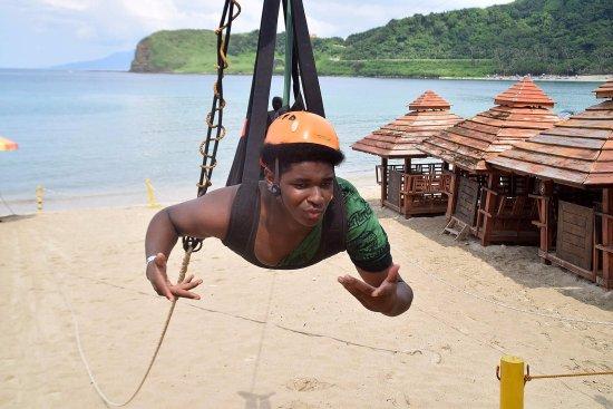 Pagudpud, Filipinas: My son posing the end of the zipline