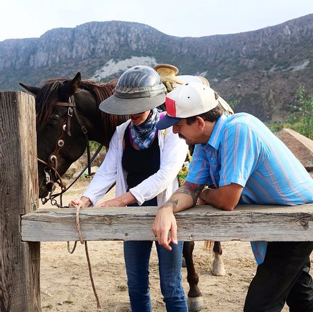 La Misión, México: learning to tie a knot is essential when 'parking' the horses at the local watering hole