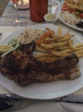 Massive pork chop, freshly prepared