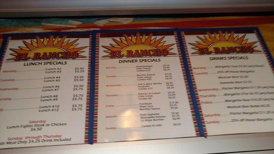 El Rancho: more menu details