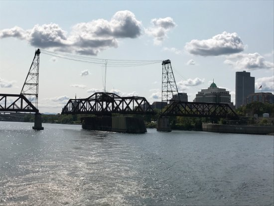 Troy, NY: Railroad Swing Bridge on Hudson River