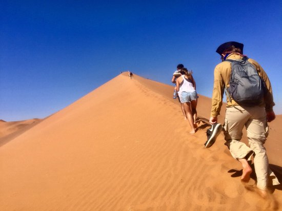 """Windhoek, Namibia: Climbing to the top of the """"Big Daddy"""" dune in Sossusvlei"""