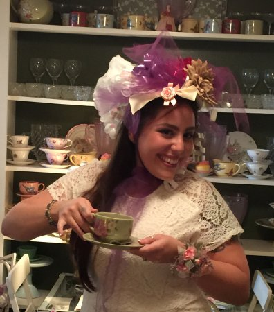 Warwick, NY: My happy daughter wearing her Bridal Shower hat made with ribbons.