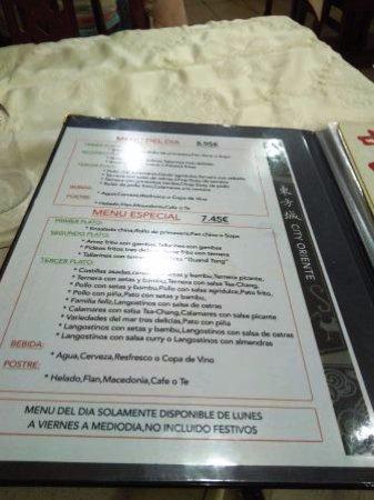 Alcudia, İspanya: Menú