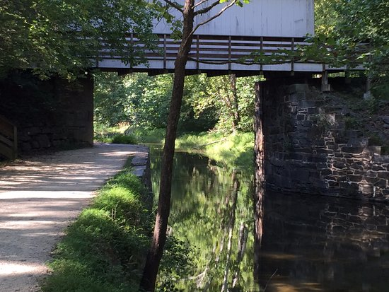 Potomac, MD: Covered Bridge along the C&O canal in park