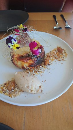 Willunga, Australia: baked brie and almond cheesecake with poached pear and muscat icecream