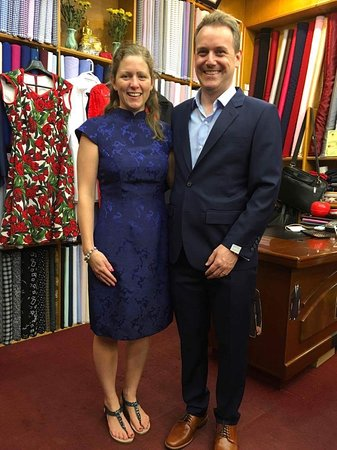 Blue suit and black dress