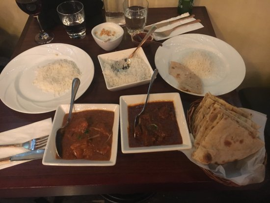 The Spice Room : The venison and chicken curries. Nann bread and rice were cooked beautifully