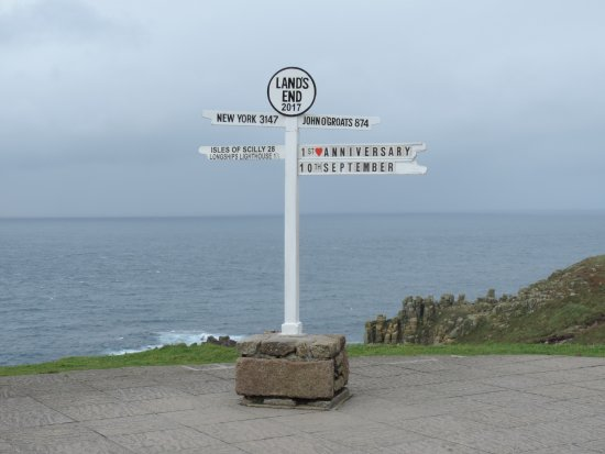 Sennen, UK: The Lands End Post.-Free from other side of fence!