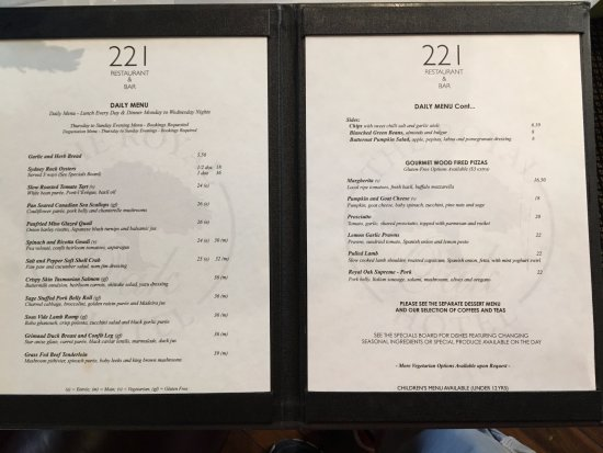 221 Restaurant & Bar: Menu