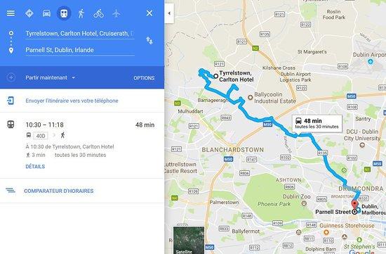 Tyrrelstown, Ireland: tragitto bus da/verso il centro