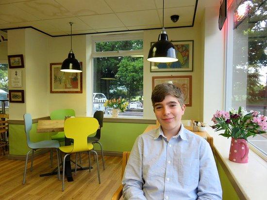 Billingshurst, UK: My son enjoying breakfast at Billy's on the Road (09/Sept/17).