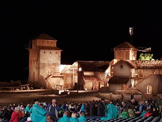 Ralswiek, Tyskland: Teilansicht des Bühnenaufbaus