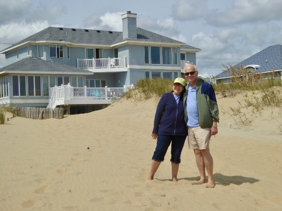Sandbridge Beach: my sister and best friend, Sea Forever house in the back