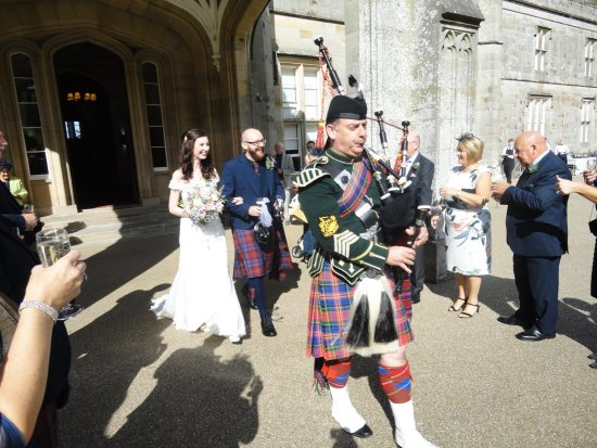 Maybole, UK: The new Mr Martin and Mrs Fiona Jolly piped out to meet guests before a perfect wedding meal xx