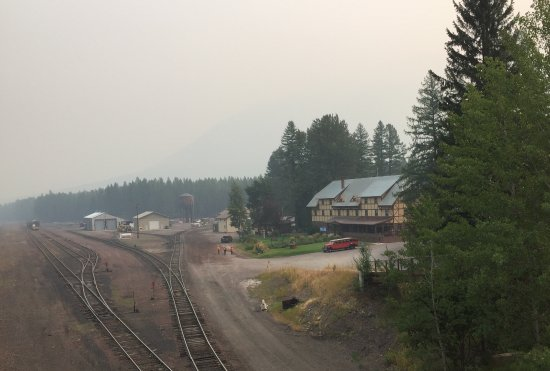 Essex, MT: View of Hotel from the bridge over the train tracks