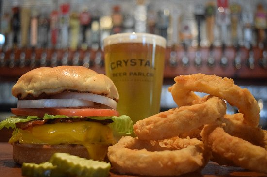 Crystal Beer Parlor: Classic Crystal Burger with homemade onion rings.