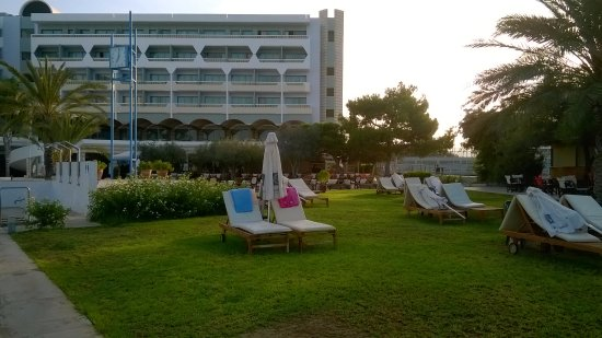 Constantinou Bros Athena Royal Beach Hotel: Sun loungers on grass area