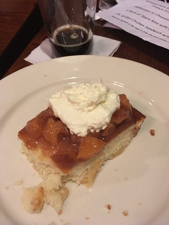 Hickory BBQ Smokehouse: Dessert Peach Shortcake with homemade whipped cream. Many more to choose from a Blackboard Menu.
