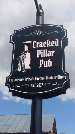 the Sign in front of the Cracked Pillar Pub on main Street in Bridgewater Va.