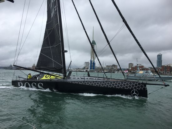 Gosport, UK: Alex Thomson set sails in Portsmouth Harbour