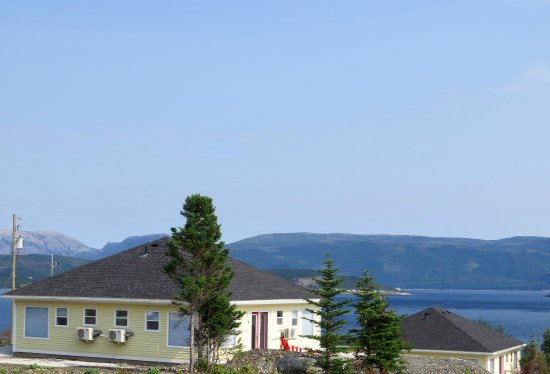 The Rooms at Woody Point: View from behind the property to give you a sense of the view.