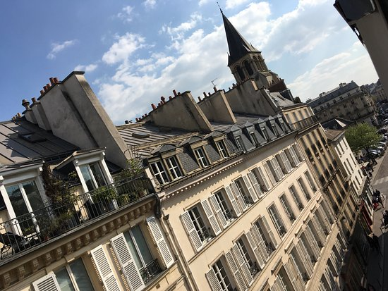 Hotel Saint Germain des Pres: view from the window of room beneath the roof, along rue Bonaparte
