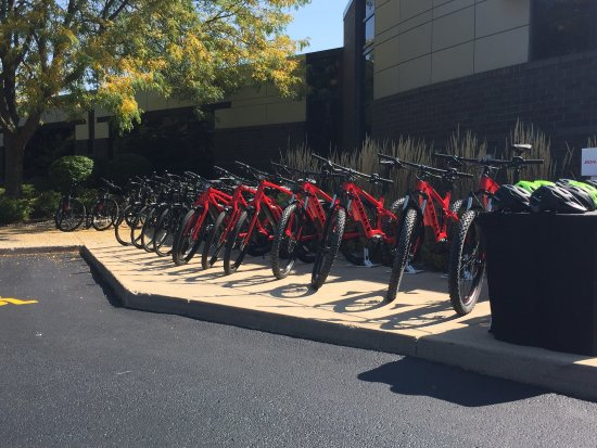 "Waterloo, WI: Bikes on display for meeting. Also ""loaner bikes"" to take into town."