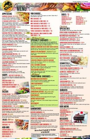 Lunch & Dinner Menu Old World German Restaurant - served all day!