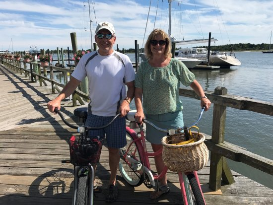 Beaufort, NC waterfront on our bikes!