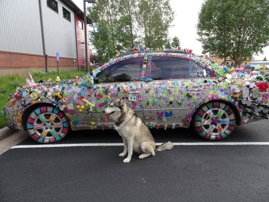 Hampton Inn Laramie: look at this wild car that was parked in the lot!