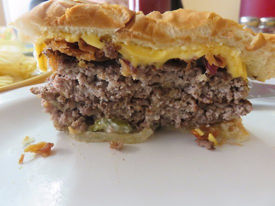 Lenoir City, TN: The Double Cheeseburger cut in half