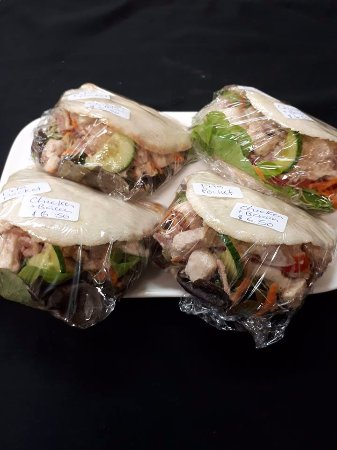 Westport, New Zealand: New to Gibbys - Chicken & bacon pita pockets with salad $6.50