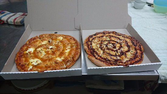 Westport, Yeni Zelanda: Our famous Pizzas! Chicken/apricot/cream cheese or Meatlovers